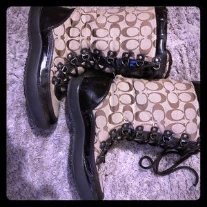 COACH lace up winter boots